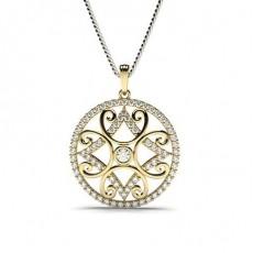 Yellow Gold Designer Diamond Pendants