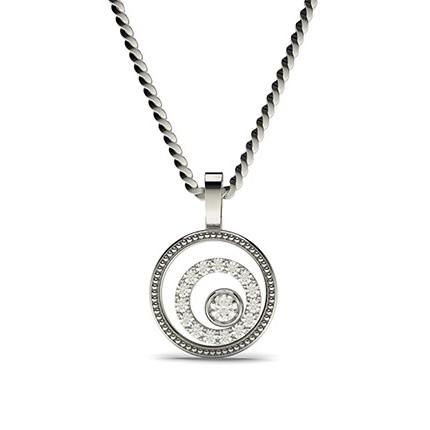 Pendentif délicat diamant rond serti clos et pavé 0.15ct