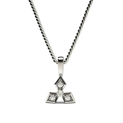 Runder Petite Diamantanhänger in einer 3 Krappen und Pavefassung