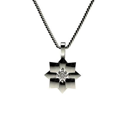 Runder Petite Diamantanhänger in einer 4 Krappenfassung