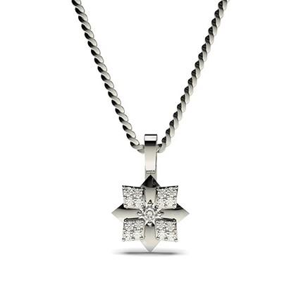 0.10ct. 4 Prong & Pave Setting Round Diamond Delicate Pendant