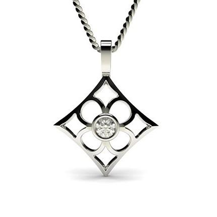 0.15ct. Full Bezel Setting Round Diamond Delicate Pendant