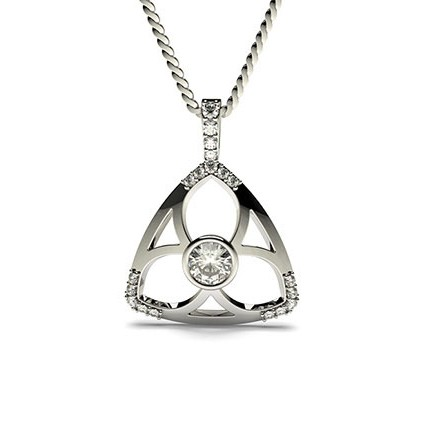 Runder Petite Diamanthänger in einer Zargen und 4 Krappenfassung