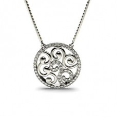0.45ct. Pave Setting Round Diamond Delicate Pendant