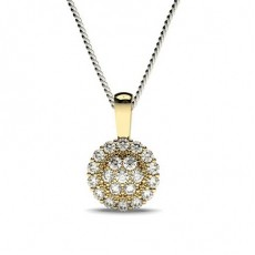 Yellow Gold Cluster Diamond Pendants