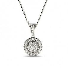 Round Cluster Diamond Pendants Necklaces