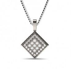 Pave Setting Round Diamond Cluster Pendant - CLPD571_02