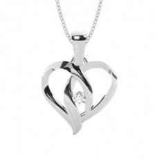 Full Bezel Setting Round Diamond Heart Pendant