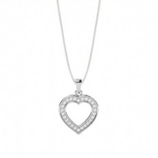Pave Setting Round Diamond Heart Pendant - CLPD693_01