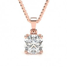 Rose Gold Solitaire Diamond Pendants