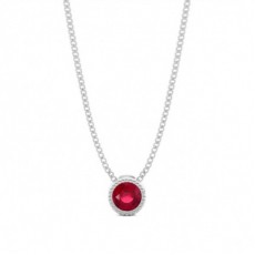 Full Bezel Setting Round Ruby Solitaire Pendant