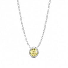 Bezel Yellow Diamond Milligrain Solitaire Pendant