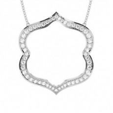 Pendentif tendance diamant rond serti pavé 0.07ct