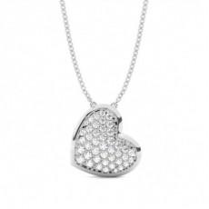 Pave Setting Round Diamond Heart Pendant - CLPD1081_01