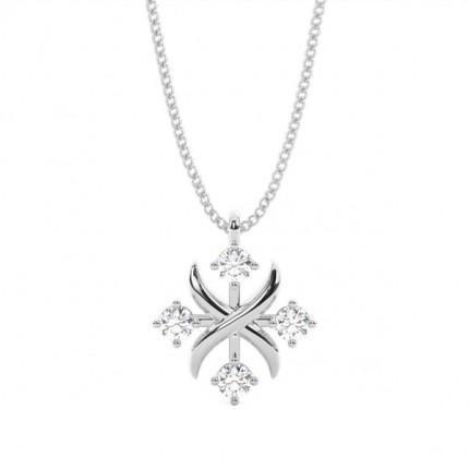 4 Prong Setting Round Diamond Designer Pendant