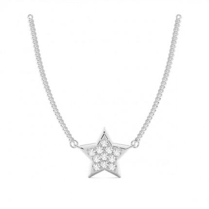 Pendentif délicat diamant rond serti invisible 0.10ct