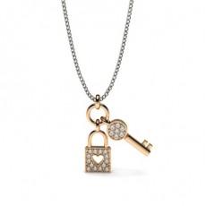 Rose Gold Designer Diamond Pendants Necklaces