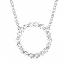 Round Circle Diamond Pendants