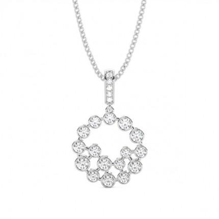 Full Bezel Setting Round Diamond Circle Pendant
