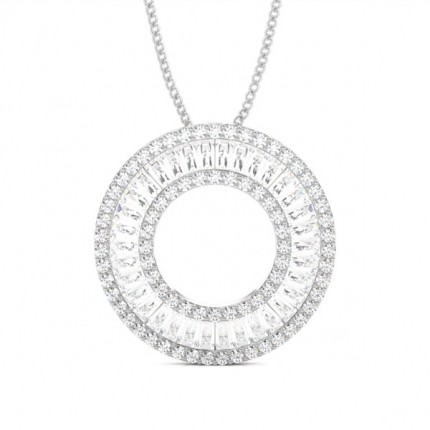 Buy pave setting round and baguette diamond circle pendant online pave setting and diamond circle pendant mozeypictures Gallery