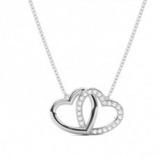 Pave Setting Round Diamond Heart Pendant - CLPD1252_01