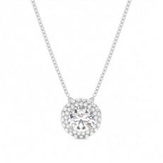 Platinum Halo Diamond Pendants Necklaces