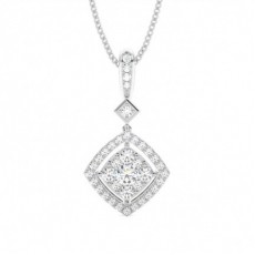 Pendentif illusion diamant rond serti 4 griffes 0.45ct - CLPD1265_01