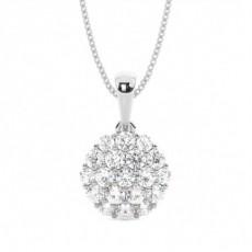 Pressure Setting Round Diamond Cluster Pendant
