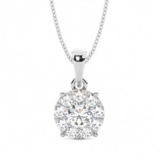 Prong Setting Round Diamond Cluster Pendant