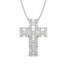 Pendentif croix diamant rond/princess/baguette serti 4 griffes 0.75ct - CLPD1277_01