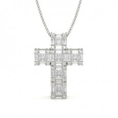 Round Cross Diamond Pendants