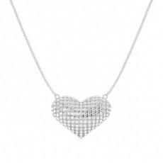 Pave Setting Round Diamond Heart Pendant - CLPD1278_01