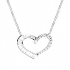 Channel Setting Round and Baguette Diamond Heart Pendant - CLPD1281_01
