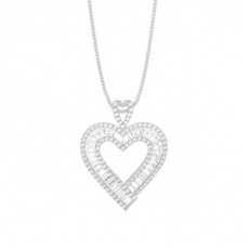 Channel Setting Round and Baguette Diamond Heart Pendant - CLPD1287_01