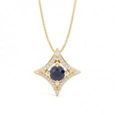 4 Prong Setting Blue Sapphire Designer Pendant - CLPD1946_BS_01