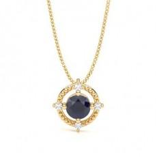 4 Prong Setting Blue Sapphire Designer Pendant - CLPD1947_BS_01
