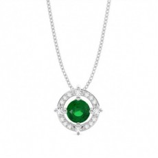 4 Prong Setting Emerald Designer Pendant
