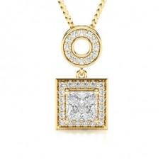 Prinzessin Gelbgold Halo Anhänger Halsketten