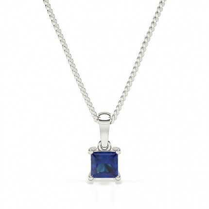 4 Prong Blue Sapphire Solitaire Pendant