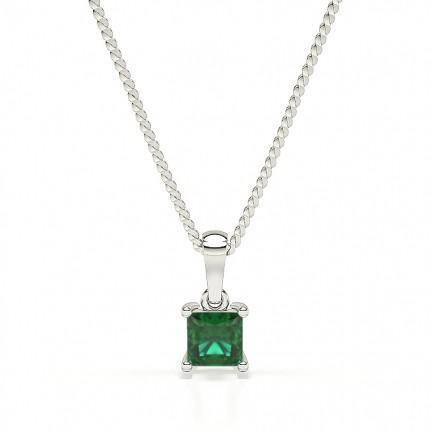 4 Prong Emerald Solitaire Pendant