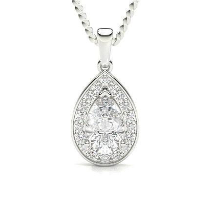 Pendentif halo diamant poire/rond serti 4 griffes et pavé