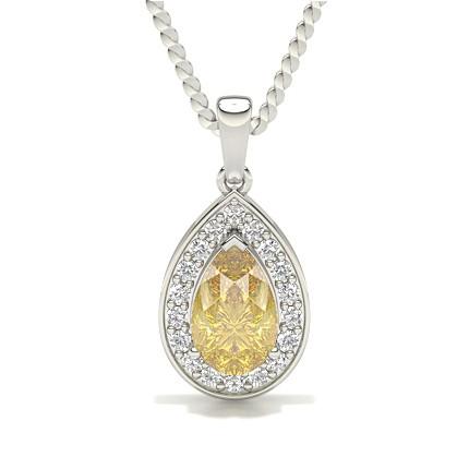 Gelber Diamant Halo Anhänger