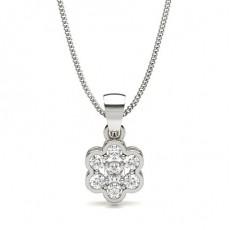 Pendentif illusion diamant rond serti 4 griffes