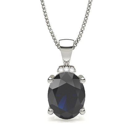 4 Prong Setting Blue Sapphire Solitaire Pendant