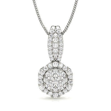 Prong Setting Round Diamond Cluster Pendant