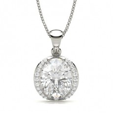 Full Bezel Setting Oval Diamond Designer Pendant