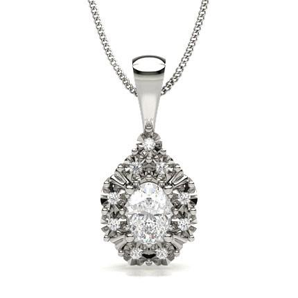 Ovaler Diamant Designer Anhänger in einer 4-Krappenfassung