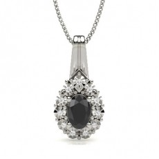 Oval Black Diamond Pendants