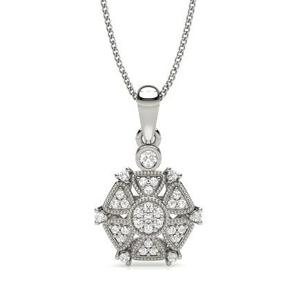 Runder Diamant Designer Anhänger in einer 4-Krappenfassung