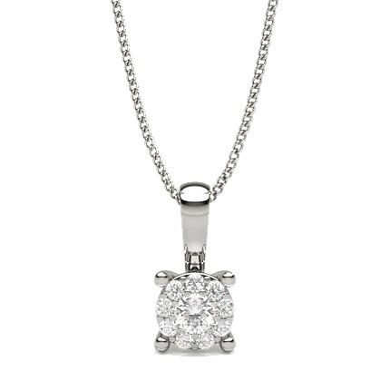 Runder Diamant Cluster Anhänger in einer Krappenfassung